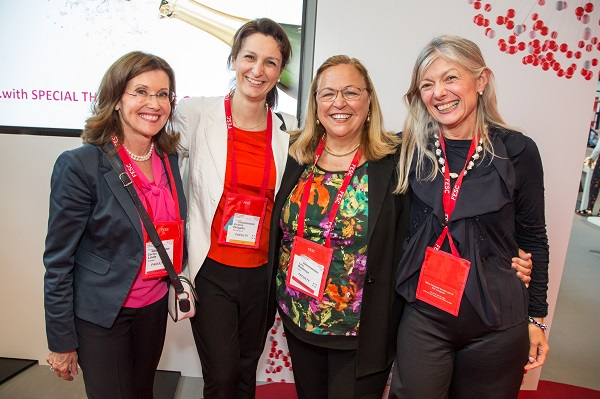 Cecilia Linde, grant recipient Victoria Delgado, Lina Badimon and Barbara Casadei at the 2018 ESC Women Transforming Leadership Programme grant recipients award ceremony in Munich.