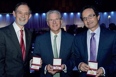 This year's three ESC Gold Medallists pictured after their awards at yesterday's Inaugural Session. From left to right, Keith Fox, Richard Popp, and Michel Haissaguerre.