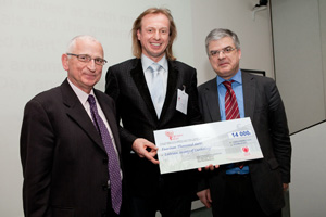 Latvian Society of cardiology representative receiving his prize